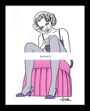 MARLENE DIETRICH 1932-rpt Sardi's ALEX GARD LINGERIE Heels NYC Caricature MATTED