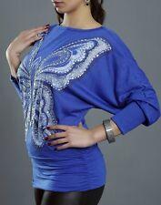 Damen Long Shirt Glitter Pailletten Schmetterling S/M 34/36 M/L 36/38 blau TOP