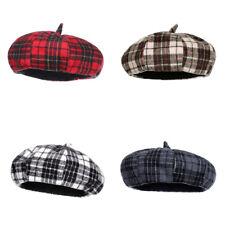 Plaid Fashion Women's Beret Hats Painter French Cap Autumn Winter Beanie