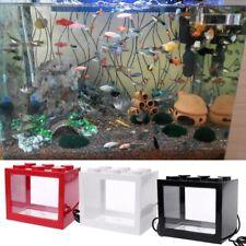 USB Mini Aquarium Fish Tank With LED Lamp Light Betta Fish Fighting Cylinder New
