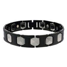 Men Women 13MM Tungsten CarbideTwo Tone H & Cushion Link Magnetic Bracelet