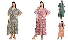 Indian Plus Size Women Summer Beach Maxi Long Kaftan Dress Cotton Gown Dress