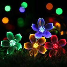 Solar Powered 50 LED Peach Blossom Light String Lamp Garden Path Arts Decor Warm