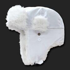 White Aviator Bomber Faux Fur Winter Ski Trooper Trapper Ear Flap Hat Cap S/M