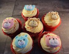 Teddy Bear Cupcake Toppers Set of 6 Pink Blue or Brown Bears Fondant Sugarpaste
