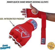 Austodex Fist Gel Bandages MMA boxing Inner Quick Hand Wraps Gloves straps red