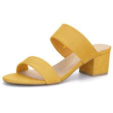 Allegra K Women's Open Toe Block Heel Dual Straps Slide Sandals