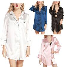 UK Women Silk Long Sleeve Pajamas Boyfriend Style Blouse Plus Size Nightshirt