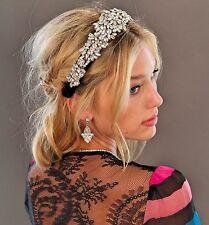 Kristin Perry Crystal Velvet Rhinestone Tiara Headband Headpiece