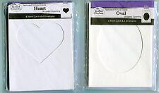 Blank Cards + Envy-TRI -FOLD Textrured-6pk-Pick OVAL or HEART Shape Window