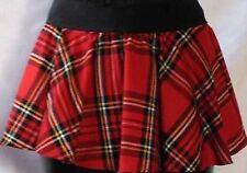 Ladies Women Circular Tartan Mini Skater Skirt With Elasticated Waistband--Red