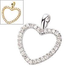 Anhänger Herz 585 Gold Weißgold / Gelbgold Diamant Brillant 0,15 ct handgefasst