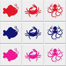 FISH CRAB OCTOPUS Tile Stickers Bathroom Ocean Nautical Wall Art -**3 designs**