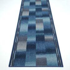 """moderner Velours Teppich Läufer """"BOSTON Blau""""  80 cm breit rutschfest"""