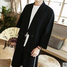Mens Long Sleeves Han Chinese Clothing Kimono Fashion Homewear Solid Color A688