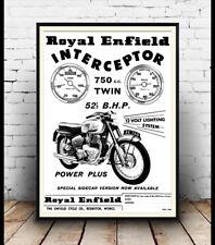 Royal enfield interceptor, vintage moto affiche publicitaire reproduction.