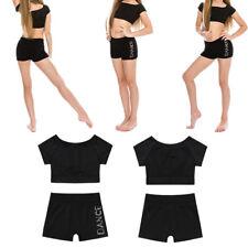 Girl Kid Ballet Gymnastics Leotard Crop Top+Shorts Outfit Toga Sports Dance wear