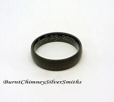 Matte Black Stainless Steel Wedding Ring BCSS-R027K LASER Engraving Optional