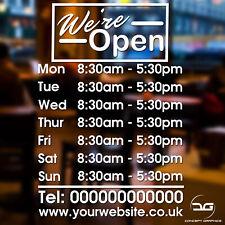 We're Open Custom Opening Times/Hours Shop Door Window Wall Vinyl Sticker Sign
