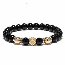 Fashion 18k Gold Plated Pave CZ Cube Charm Beads Bracelets Men 8mm Agate Stone