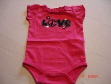 "INFANT ""LOVE"" ON PINK ONE PIECE BODYSUIT, SIZES: NEWBORN, 0-3 MO, 6-9 MO"