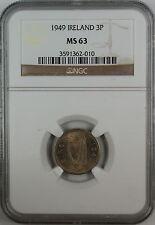1949 Ireland Three Pence, NGC MS-63