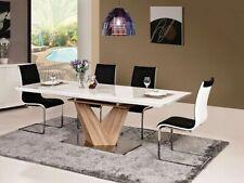 ALARAS White High Gloss Extended Dining Table with Pedestal in Sonoma Oak Veneer