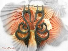 Handmade Dangle Earrings Tribal Horn Bone Organic Carved Inlay Fake Gauge Posts