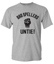 BAD SPELLERS UNTIE Funny Joke Spelling Nerdy Grammar English Unite Men's T-Shirt