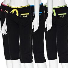 Damen leichte 3/4 Sommerhose Capri Trainingshose Shirthose Pants Kordel Tasche