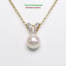14k Yellow Gold Rabbit-Ear Bail; Diamonds & AAA White Cultured Pearl Pendant TPJ