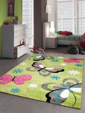 Tapis enfants de jeu de tapis Papillon Design Vert Rose Gris Turquoise Blanc
