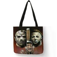 Horror Movie Freddy Krueger Jason Chucky Killers Linen Tote Bag Halloween Bag