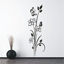 Blumen Wandtattoo  Blüten Wandsticker Wandbild Ranke Blume Schmetterling10