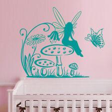 Sticker Fée sur champignon Fleur et Papillon, 20x24 cm à 30x36 cm (FEE009)