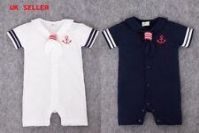 REGNO Unito NEW Baby Boy Sailor Pagliaccetto Vestiti Romper Tuta Vestito Estivo Festa Di Compleanno