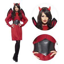Ladies Economy Devil Fancy Dress Halloween Costume with Dress Wings Belt Horns