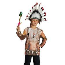 KINDER INDIANER KOSTÜM LANGARM SHIRT # Karneval Fasching Party Häuptling Jungen