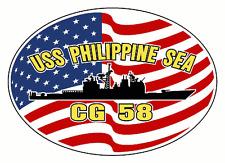 USS PHILIPPINE SEA CG 58 Oval Decal / Sticker Military USN U S Navy