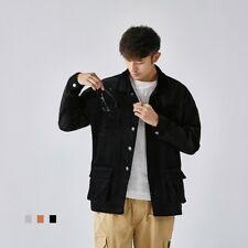 Men's Corduroy Jacket Vintage Japanese Loose Lapel Outwear Coat Buttons Casual