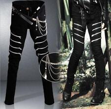 Punk Gothic Men's Zips Pants Trousers Hip Hop Casual Rock Waist Chain Harem
