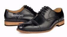 Men's Fashion Cap Toe Perforated Lace Up Oxfords Dress Shoes Black