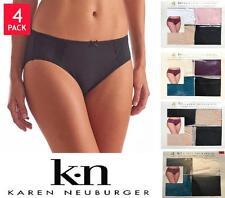 Karen Neuburger Women's Hi-Cut Brushed Microfiber Lace Briefs Multi 4 Pk NEW OB
