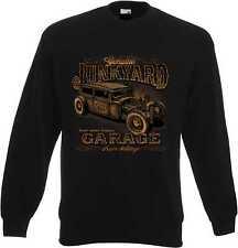 Sweat shirt en noir avec un hot rod-, us car-,' 50 style Motif Modèle Junkyard