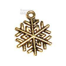 Breloques _ FLOCON DE NEIGE doré 20X16mm _ Perles charms création bijoux _ B132