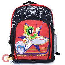 Looney Tunes Marvin Large School Backpack Book Bag w/ Drink Bottle Black Red
