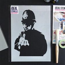 Banksy Rude medio dedo policía Stencil pintan paredes Decoración del Hogar Artesanía plantilla ideal