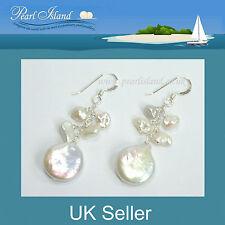 White Coin & Keshi Freshwater Pearl Earrings 12-20mm by Pearl Island