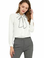 Allegra k Women's Tie Neck Contrast Color Long Sleeves Shirt