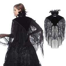 DARK IN LOVE Gothic-Umhang aus Spitze mit abnehmb. Federkragen Feather Neck Cape